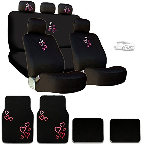 New Multi Pink Red Love Heart Car Seat Covers Steering Wheel Cover Headrest Cover Floor Mats Gift (Hearts Bucket Seat Cover)