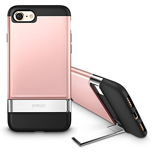 Phone 7 Case, Metal Kickstand Case [Vertical and Horizontal Stand] [Reinforced Drop Protection] Hard PC Back with Flexible TPU Bumper for iPhone 8(2017)/iPhone 7(2016)(Rose Gold) ()