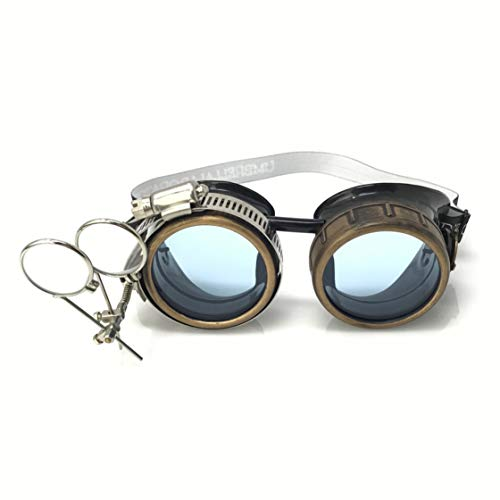 Steampunk Victorian Style Goggles with Compass Design, UV Glow in The Dark Neon Blue Rave Diffraction Glasses Spiral Lenses