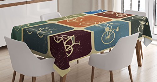 Ambesonne Vintage Tablecloth, Retro Image Collage of Bicycle Bikes in a Row with Abstract Pattern Colored Art, Dining Room Kitchen Rectangular Table Cover, 60W X 84L inches, Multicolor