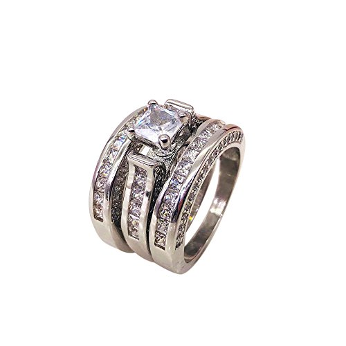 - Hanican 3-in-1 Womens Vintage White Diamond Silver Engagement Wedding Band Ring Set, Silver, 8