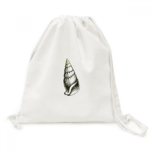 Marine Life Black Snail Pattern Canvas Drawstring Backpack Shopping Travel Lightweight Basic Bag Gift by BeatChong