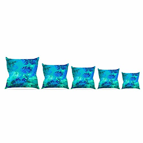 Over Woven Futon Chair Cover - Kess InHouse Nina May Wildflower Blue Teal Blue Throw Pillow, 20 by 20