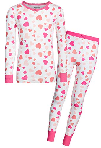 - Heartstrings Girls' 2-Piece Snug Fit Pant Pajama Set with Long Sleeve Top, White Heart, Size 14/16'