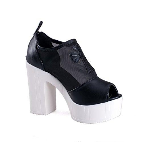 Plattform Toe weiches Peep mit High schwarz Chunky Mädchen Heels öffnen Material Heel Reißverschluss Sandalen feste PU VogueZone009 tTw1Yv