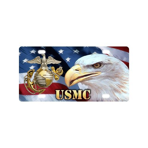 (Cool USMC Marine Corps US Flag Bald Eagle Strong And Durable Aluminum Car License Plate 12