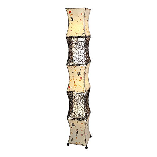 Eangee Pagoda XL Acacia and Fern Leaves Paper Floor Lamp ()