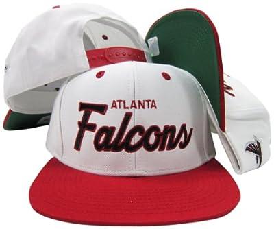 Atlanta Falcons White/Red Script Two Tone Adjustable Snapback Hat / Cap