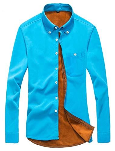 GAGA Mens Cotton Corduroy Down Jackets Shirt Casual Button Stretch Long Sleeve Sky Blue ()