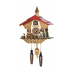 Trenkle Quartz Cuckoo Clock Black Forest House with Moving Black Forest Woman and Mill Wheel, with Music TU 4215 QM