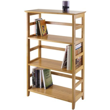 3-Shelf Open Bookcase, Honey Pine Finish, Solid Beechwood Bookcase, Warm Honey Pine Finish, Open Bookcase, Library, Shelving, Open-Square Design, Office Furniture - Honey Pine Bookcase