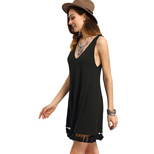 Col V Sans robe Loose Noir Noir Femme manches Sexy ROMWE Mini tx7fnXwqEY