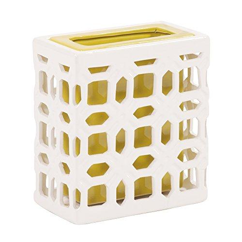 Howard Elliott 49002 Ceramic White Lattice Vase, Small ()