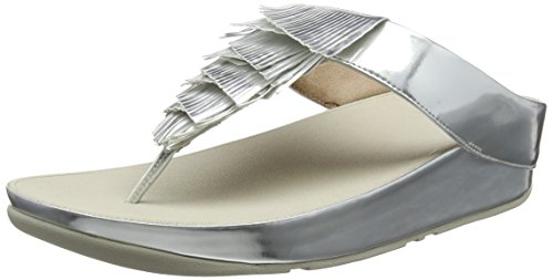 (FitFlop Women's Cha Cha Beaded Leather Slip-on Sandals Shoes Silver Size 9)