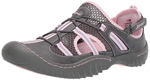 JSport by Jambu Women's Bleeker Fisherman Sandal, Charcoal/Pink, 7 M US
