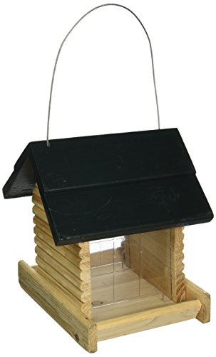 North States Hanging Log Cabin Birdfeeder-Green Roof