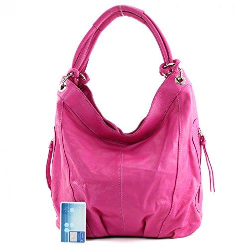 Made Italy de hombro cuero mujer para al Pink Bolso r1Bdnqr