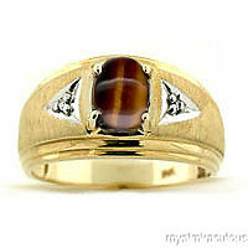 - Diamond & Tiger Eye Ring 14K Yellow or 14K White Gold