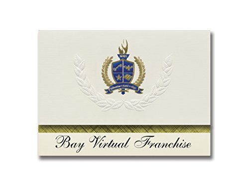 (Signature Announcements Bay Virtual Franchise (Panama City, FL) Graduation Announcements, Presidential style, Elite package of 25 with Gold & Blue Metallic Foil)