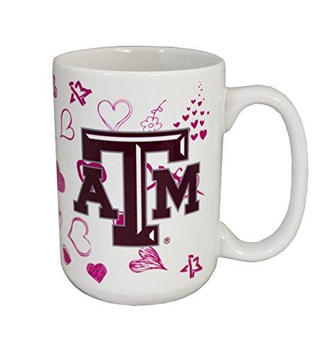 NCAA Texas A&M Aggies 15 oz Ceramic Hearts Coffee Mug (A&m Aggies Texas Coffee)