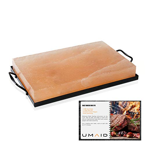 UMAID 12 X 8 X 1.5 Natural Himalayan Rock Salt Block Cooking Plate for Cooking, Grilling, Cutting and Serving, Kosher and FDA Certified Food Grade Salt with Metal Steel Tray Set with Recipe Book