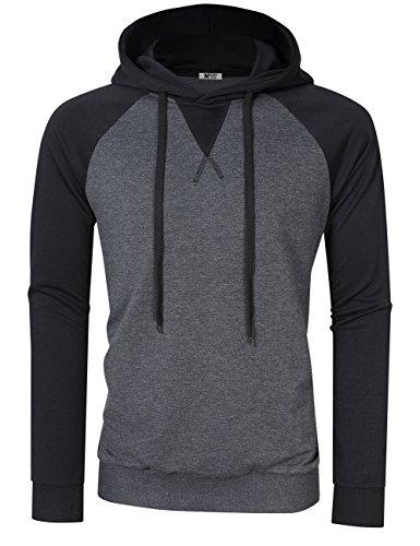 l Slim Fit Baseball Long Sleeve Jersey T-Shirt Pullover Raglan Shirts Black Hoodie Sweatshirts L (Hoody Pullover Casual Sweatshirt)