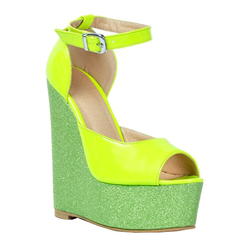 Kolnoo Womens Fashion Handmade 15cm Wadge Heel Patchwork Leather Peep Toe Pumps Shoes Green