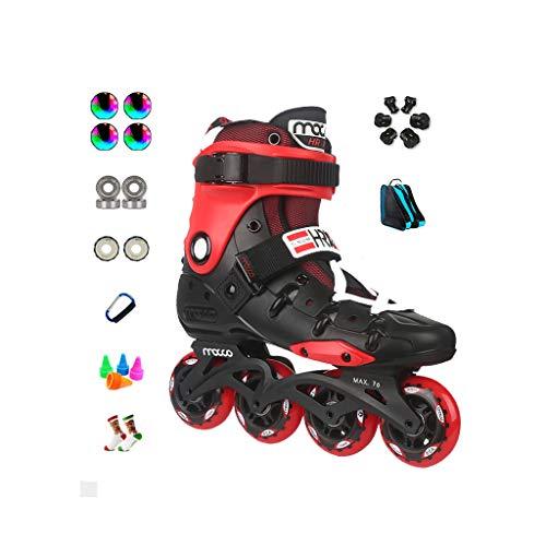 コンパスシェフ恐ろしいですailj インラインスケート、アダルト単列スケートローラースケートプロのメンズレディーススケートフルセット(3色) (色 : Red, サイズ さいず : EU 38/US 6/UK 5/JP 24cm)