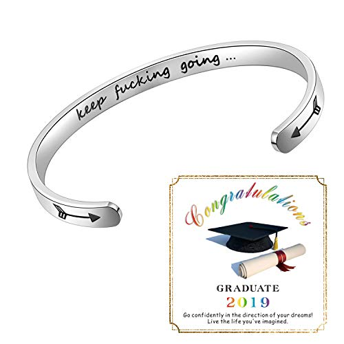 Inspirational Bracelet Cuff Bangle Mantra Quote Keep Going Stainless Steel Engraved Motivational Friend Encouragement Jewelry Gift for Women Teen Girls Sister with Secret Message (Graduation Gift)