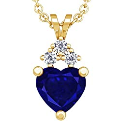 18K Yellow Gold Heart Cut Blue Sapphire And Round Diamond Pendant (GIA Certificate)