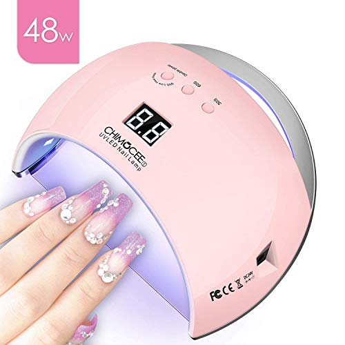 (48W UV LED Nail Lamp, CHIMOCEE Smart Nail Dryer, Auto Sensor Nail Polish Light With 4 Timer Setting, Professional Gel Nail Lamp For All Gel Polish (Pink))