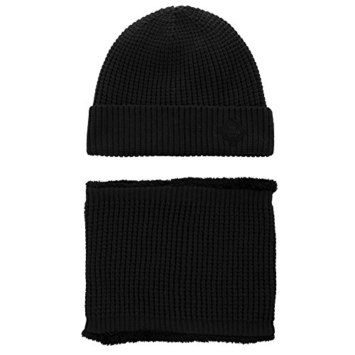 - SIGGI 2 Piece Wool Knit Hat & Scarf Sets Black Beanie with Neck Gaiters Fleece Beanie Winter Hat Balaclavas