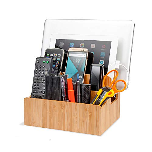 MobileVision Bamboo Charging Station with Extension Compartments for Smartphones, Tablets, Laptops Charging Dock Plus Stationary Item Holder