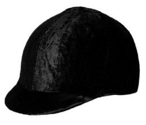 (Q&A SUPPLY Lycra Velvet Riding Helmet Cover/Equestrian Riding Helmet Cover in Black)