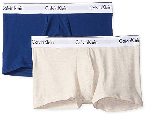 Calvin Klein Men's Underwear Modern Cotton Stretch Trunks, Dark Knight/Oatmeal Heather, S