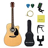 Acoustic Guitar 41inch Full Size Acoustic Guitar Spruce Top Mahogany Back and Sise Bundle with Gig Bag, Tuner, Strings, Guitar Hanger, Picks, Capo and Polishing Cloth (Full Size Cutaway)