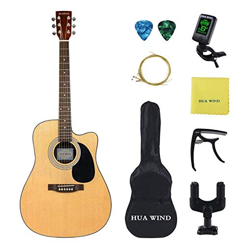 HUAWIND 41 inch Acoustic Guitar Steel Strings Cutaway Starer Kit with Gig Bag, Tuner, Strings, Strap,Picks and Polishing Cloth (41 inch acoustic guitar)