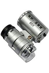 KINGMAS® Mini 60x LED UV Light Pocket Microscope Jeweler Magnifier Loupe