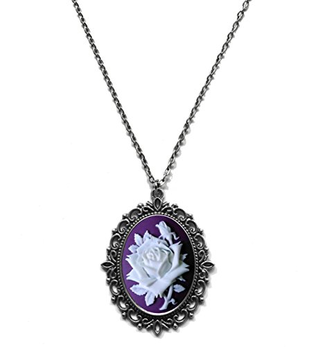 (Victorian Vault Rose on Purple Cameo Gothic Steampunk Victorian Pendant on Chain)