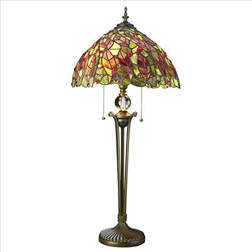 Design Toscano Croton Leaves Tiffany-Style Stained Glass Lamp, Full Color