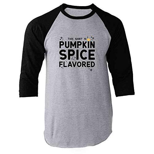 (This Shirt is Pumpkin Spice Flavored Halloween Fun Black L Raglan Baseball Tee)