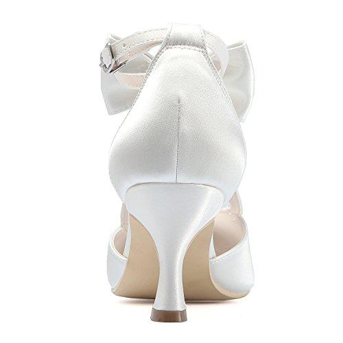 de Aguja Tobillo EP31018 Chiusa de Novia Tacón Boda Mujer Zapatos Tira Ivoire Arcos ElegantPark Satén Punta de xdYHg0gnq