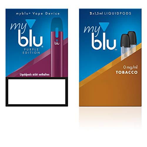 Elektrische Zigarette myblu Farbe Purpur – Starter Set mit Podpack Geschmack Tobacco – Ohne Nikotin