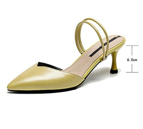 Heeled with Baotou Shoes Fine Yellow Sandals Leather Slippers High Half Slipper Pointed ZCJB Ms SxSPEwO7qY