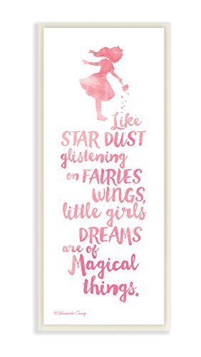 Stupell Home Décor Little Girls Dream of Magical Things Wall Plaque Art, 7 x 0.5 x 17, Proudly Made in USA -