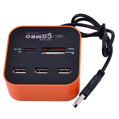 eDealMax PC Portable LED Carte mémoire 7 Machines à Sous USB 2.0 Hub USB Comb lecteur de Carte Orange