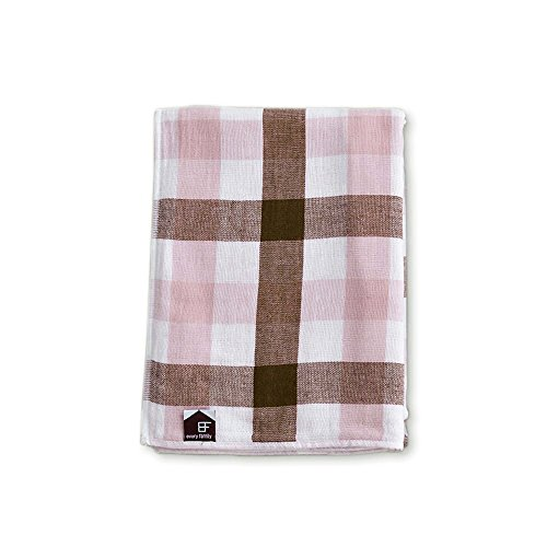 EF 100% cotton multi gauze packet (Table gauze and back pile S size (for children) 100x140cm half-size) Plaid Pink # 29014 by EF every family