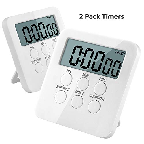 Kitchen Timer, 2 IN 1 Timer and Clock, 24-Hours Digital Timer with On & off Button, Loud Alarm, Magnetic Backing, Big Digit, Stand, Hanging Hole, Count-Up & Down for Cooking(AAA Battery Included) (2)