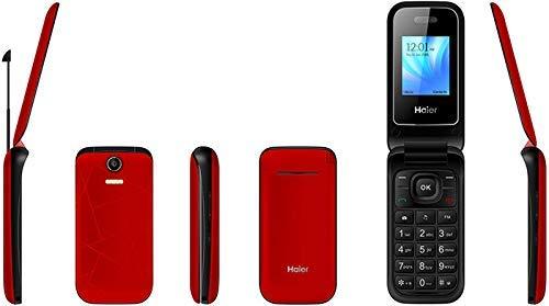 Haier C300 Flip Phone 2018 GSM Dual Sim Quad Band Mediatek MT6261D, Flashlight, Factory Unlocked (Red)