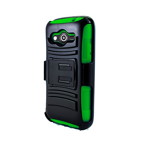 Cover-U® Samsung Galaxy Avant G386 Extreme Rugged Dual Layer Kickstand Combo Case with Belt clip Holster Green/Black Included [Premium Screen Guard + Cover U (TM) Stylus Pen + Anti-Dust Plug]